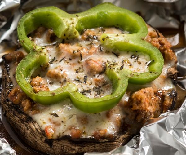 """Grilled Portobello Turkey Stuffed """"Pizzas"""""""
